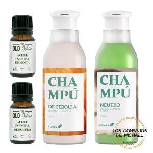 Pack de champús antigrasa y neutro y aceites esenciales - Los Consejos de Michael