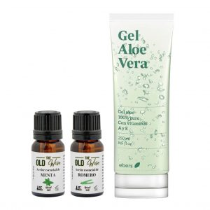 Pack gel de aloe vera con vitamina A y E, aceite menta piperita y romero The Old Wise - Los Consejos de Michael
